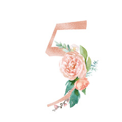 Peach Cream Blush Floral Number - digit 5 with flowers bouquet composition. Unique collection for wedding invites decoration & other concept ideas.
