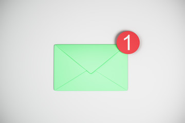 One green email icon