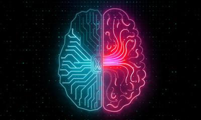 Abstract circuit brain wallpaper