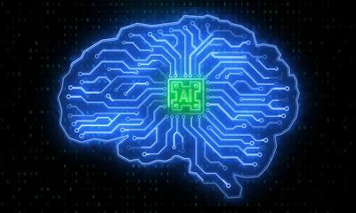 Creative circuit brain backdrop