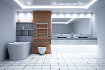 New wooden bathroom interior