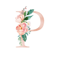 Floral Alphabet - blush / peach color letter P with flowers bouquet composition. Unique collection for wedding invites decoration and many other concept ideas.