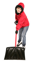 Blonde Woman With Snow Shovel
