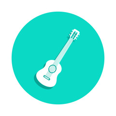 guitar icon in badge style. One of Music Instruments collection icon can be used for UI, UX