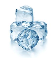 blue ice cubes isolated on white background