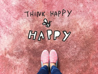 Think happy be happy vector illustration word and woman pink sneaker shoes background