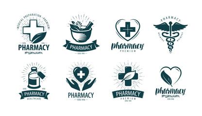 Pharmacy, drugstore logo or label. Medicine, medication symbol. Vector illustration
