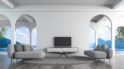 Modern loft living room white concrete wall 3d rendering. TV mockup