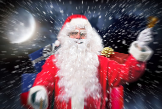 Santa Claus shipping gifts in the Christmas night