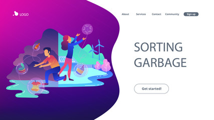 People with garbage trying to reach zero waste. Technology of ecological waste free journey focusing on landfill trash. Sorting garbage landing page. Vector illustration on ultraviolet background Wall mural