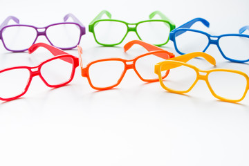 Multicolor eye glasses frames isolated on white background
