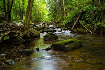 Long Exposure Waterfall Photography, Fresh Mountain Stream Moving Water