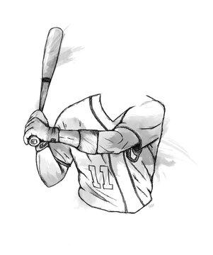 Illustration eines Baseballspielers Oberkörper und Baseballschläger