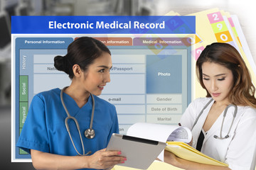 Wall Mural - Changing of medical record technology from paper work to electronic medical record.