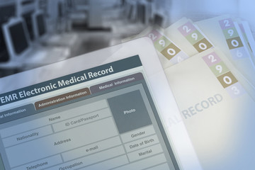 Wall Mural - Background photo showing medical record changing from paperwork to electronic medical record.