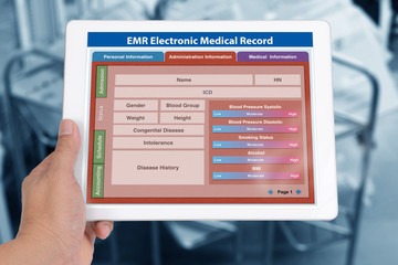 Wall Mural - Blank patient information form of EMR application showing on digital tablet screen.