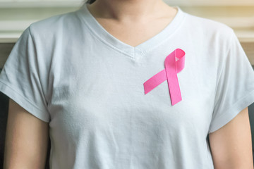 Breast Cancer Awareness, Pink Ribbon for supporting people living and illness. Woman Healthcare and World cancer day concept