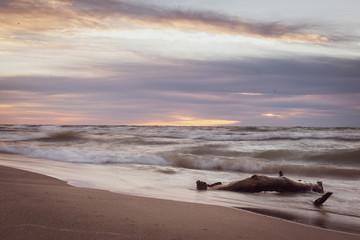 Sunrise at Bradford Beach on Lake Michigan in Milwaukee, Wisconsin