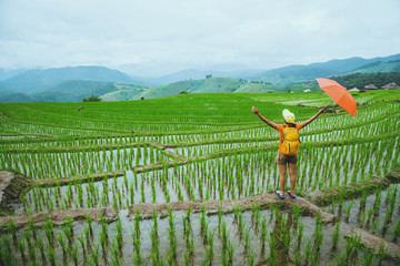Asian woman travel nature. Walking open an umbrella sling backpack on the field. View of the field on the Moutain in summer. Thailand