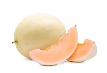 whole and slices honeydew cantalupe melon(sunlady) isolated on white background