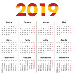 Spanish Calendar for 2019. Mondays first