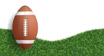 American football ball with green grass texture background. Vector. Wall mural