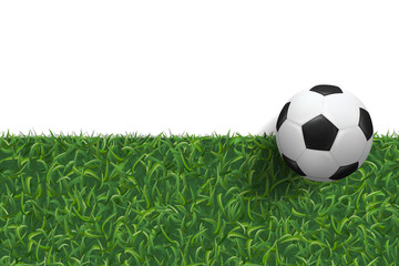 Soccer football on green grass texture background. Vector.