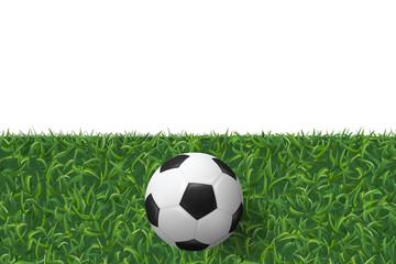 Soccer football on green grass texture background. Vector.