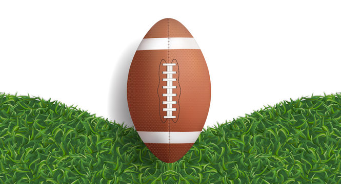 American football ball with green grass texture background. Vector.