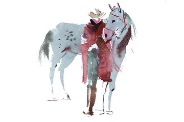 Woman and horse watercolor illustration