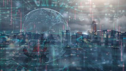 Wall Mural - the double exposure image of financial, economy and invesment grap and digital global earth and the Hong kong cityscape,business and tehcnology background