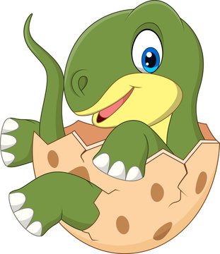Cartoon baby dinosaur hatching