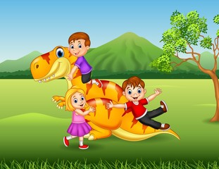 Cartoon little kid playing with a dinosaur in the jungle