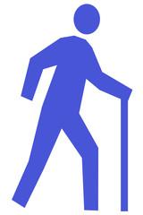 杖をついて歩く人のイラスト 右向き 青