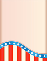 Retro frame with American flag wave pattern.