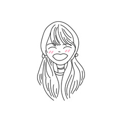 hand drawing cartoon character cute girl expression