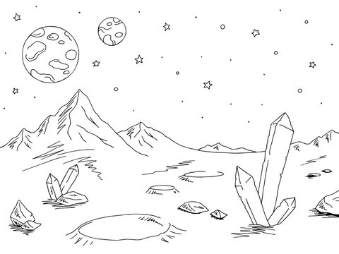 Alien planet graphic black white space landscape sketch illustration vector
