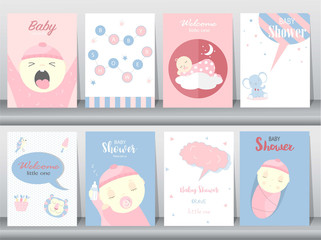 Set of baby shower invitations cards, poster, greeting, template, animals,cute, Vector illustrations