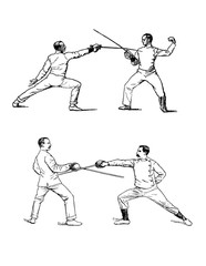 Retro illustration of fencing.