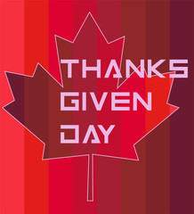 maple leaf and an inscription with thanksgiving for Canada in red tones