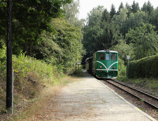 Old green diesel locomotive is approaching the station. Idyllic railway image. Summer train trip.