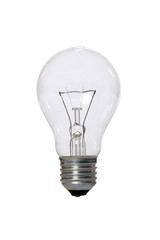 Incandescent lamp with glass bulb.