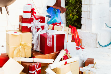Merry Christmas and happy holidays concept. Lots of Gift boxes on white background.