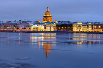 Admiralty embankment and St Isaac's Cathedral at night. Saint Petersburg. Russia