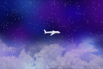 満天の星空に浮かぶ雲、飛行機の形をした雲