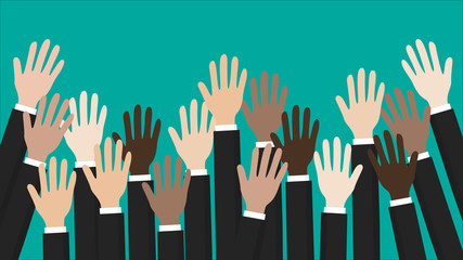 Volunteer concept. Raised up hands. Party, concept of education, business concept vector
