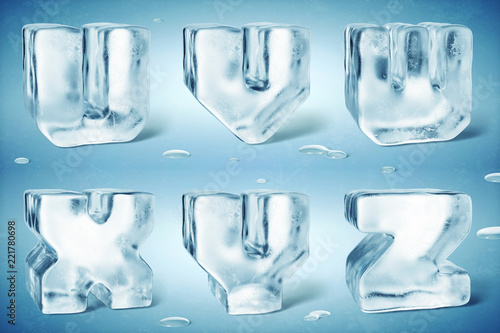 3d Render Of Shiny Frozen Ice Cube Letters