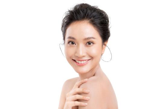 Beautiful woman asian face close up studio