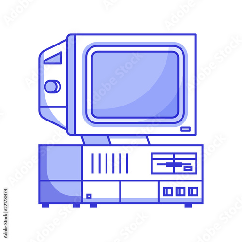 Retro computer from 90s  Classic vintage PC icon isolated on