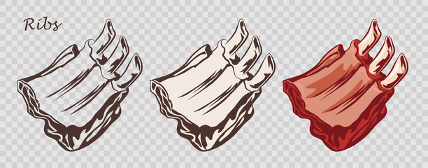 Meat food. Ribs isolated on the pseudo transparent background. Cut of beef on the bone. Set of outline, black and white, colored images. Vector illustration. Icon, emblem, logo element.